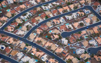 aerial shot of suburbs