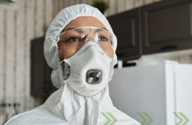 woman in hazmat suit
